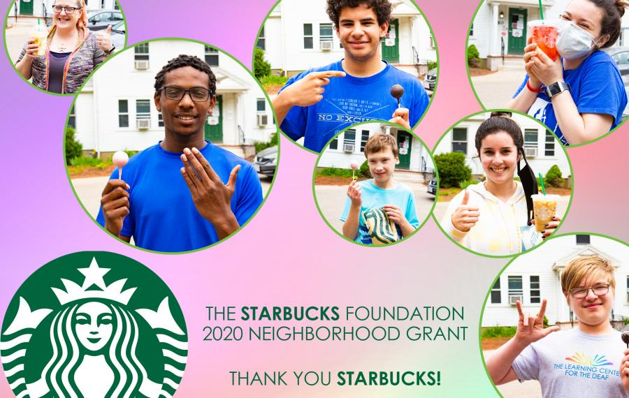 A collage of students with Starbucks drinks
