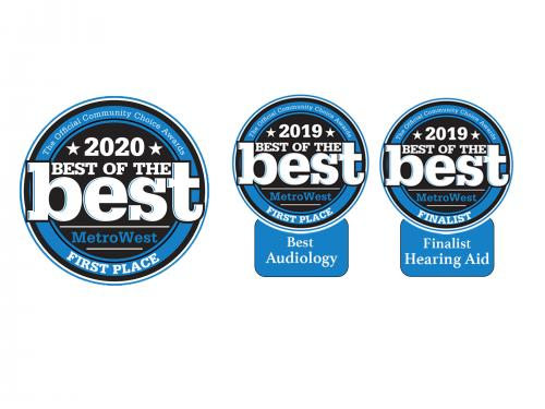 three awards in a row. Black and blue circles. Best of MetroWest.