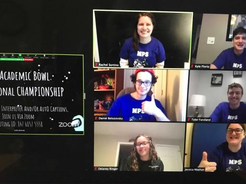 A Zoom screen with six students on the right and a black screen with text on the left - 2021 academic bowl east regional championship