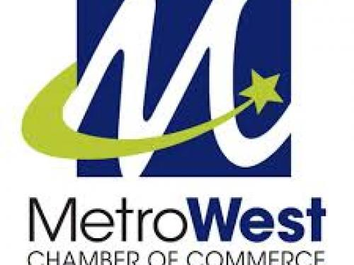 Top blue squre with white letter M and green design. Three lines of text underneath MetroWest Chamber of Commerce The Power of Connection
